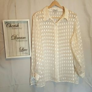 Plus Size Notations Sheer Button Down! 1X NWOT